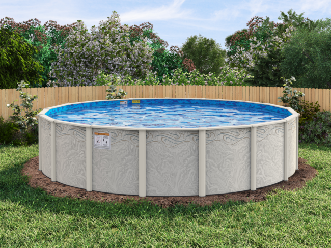 Silver-tone pool frame with unique pool wall pattern